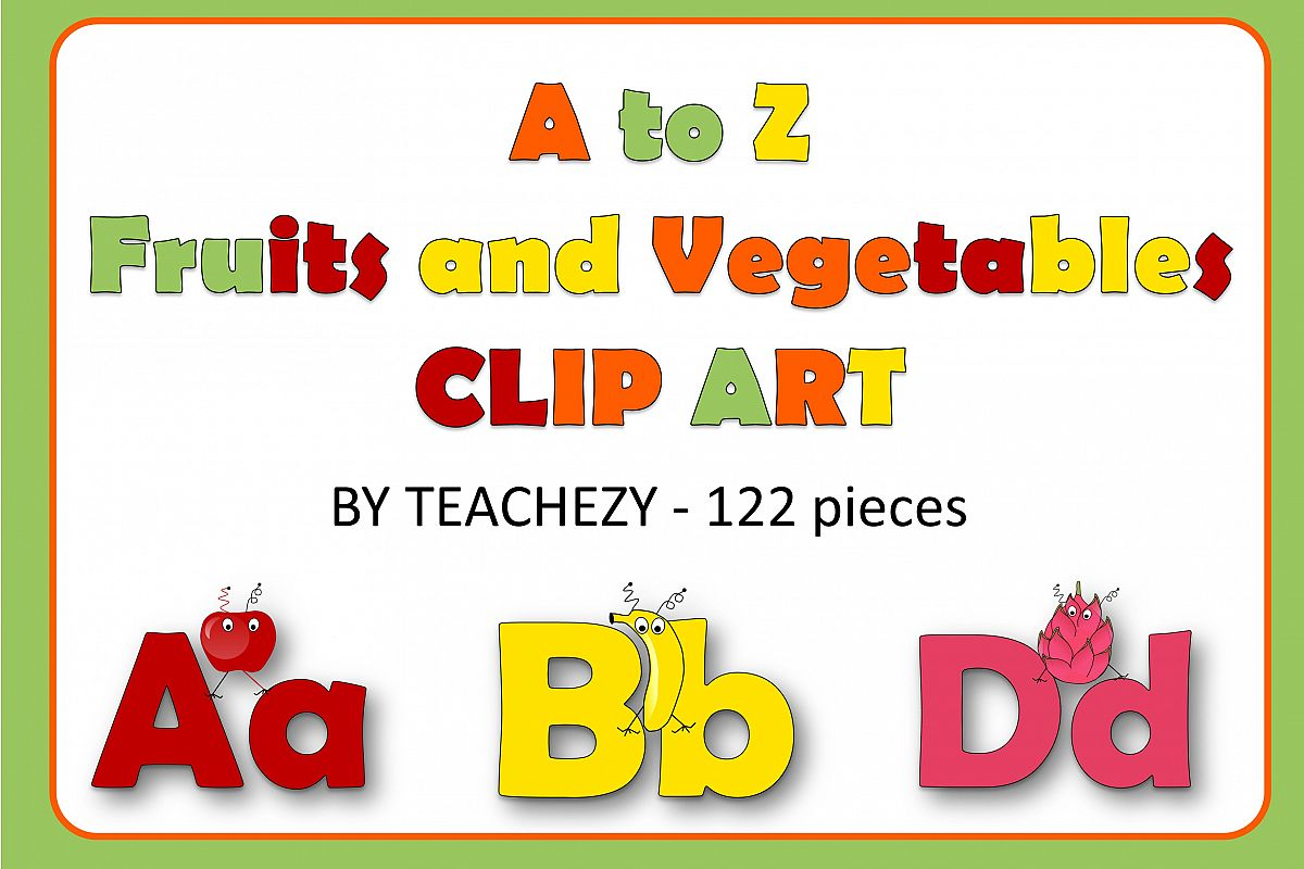 Alphabet of Fruits and Vegetables with Monsters example image 1