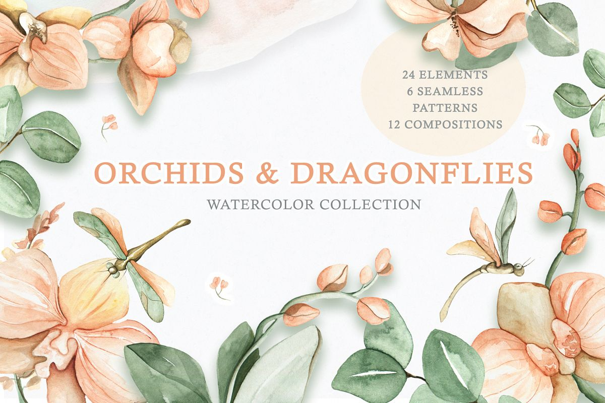 Watercolor Set Orchids and Dragonflies example image 1