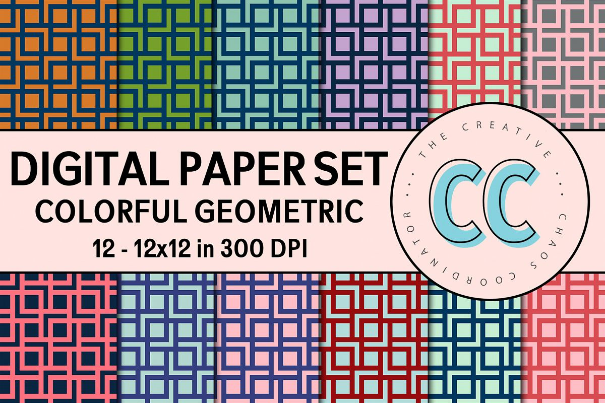 Geometric Colorful Patterns - Digital Paper Pack example image 1