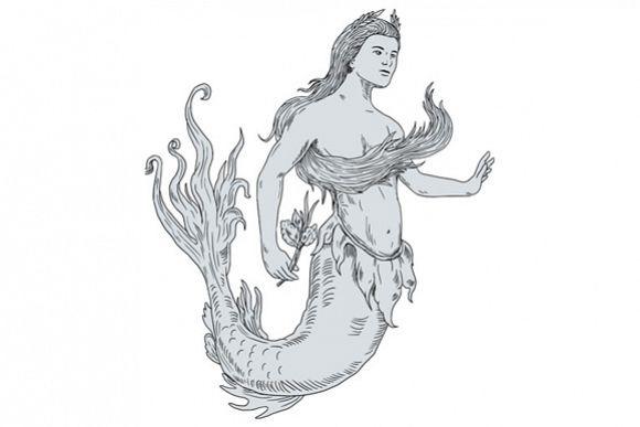 Vintage Mermaid Holding Flower Drawing example image 1