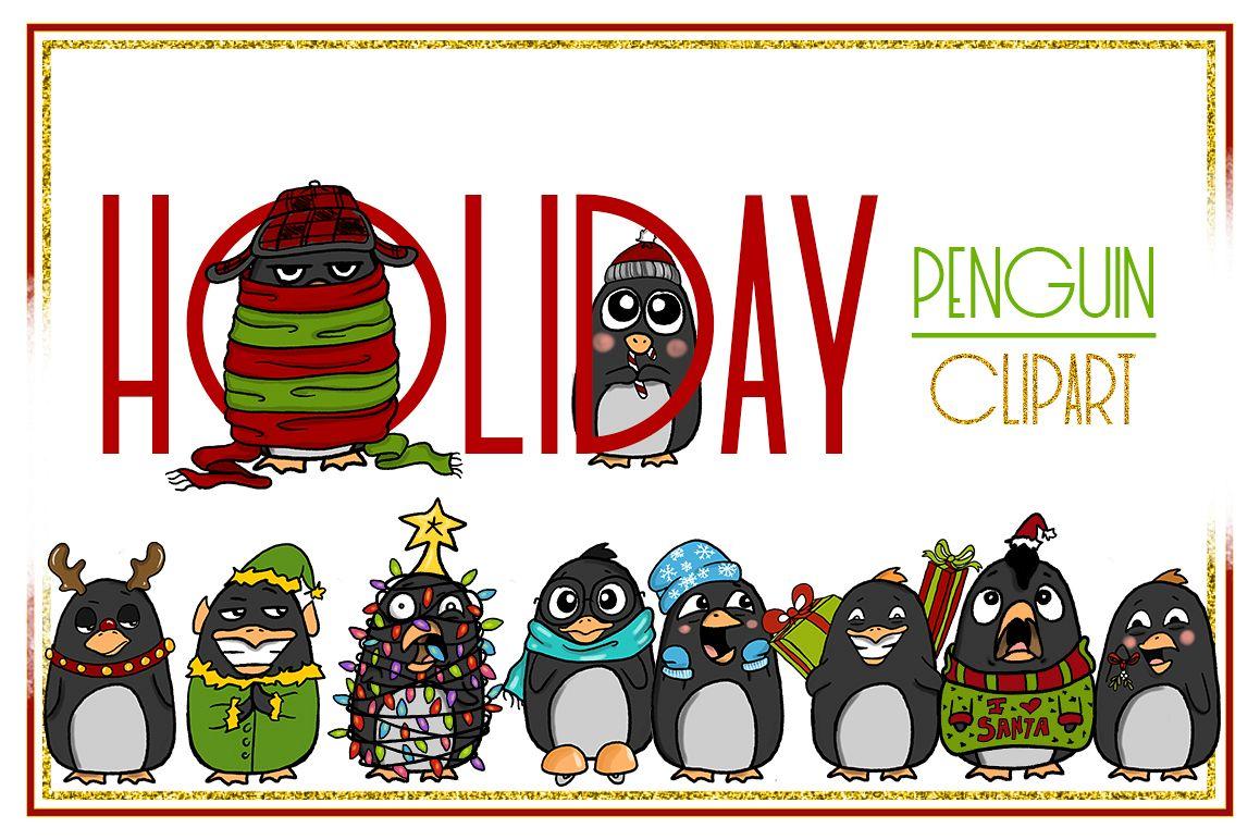 Christmas Holidays Clipart.Holiday Clipart Penguin Clipart Christmas Clipart Cartoon Sticker Clipart Digital Penguin Penguin Art Digital Penguin Xmas Drama Commercial