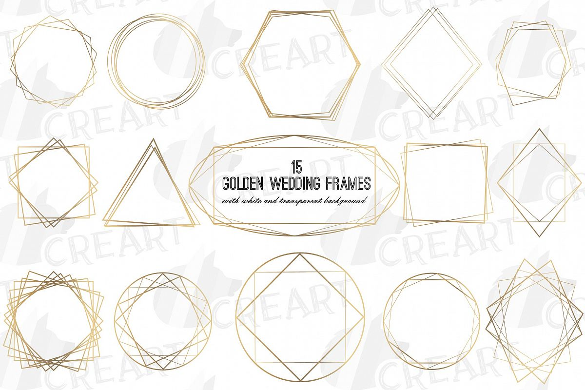 Elegant wedding geometric golden frames, lineal frames svg example image 1