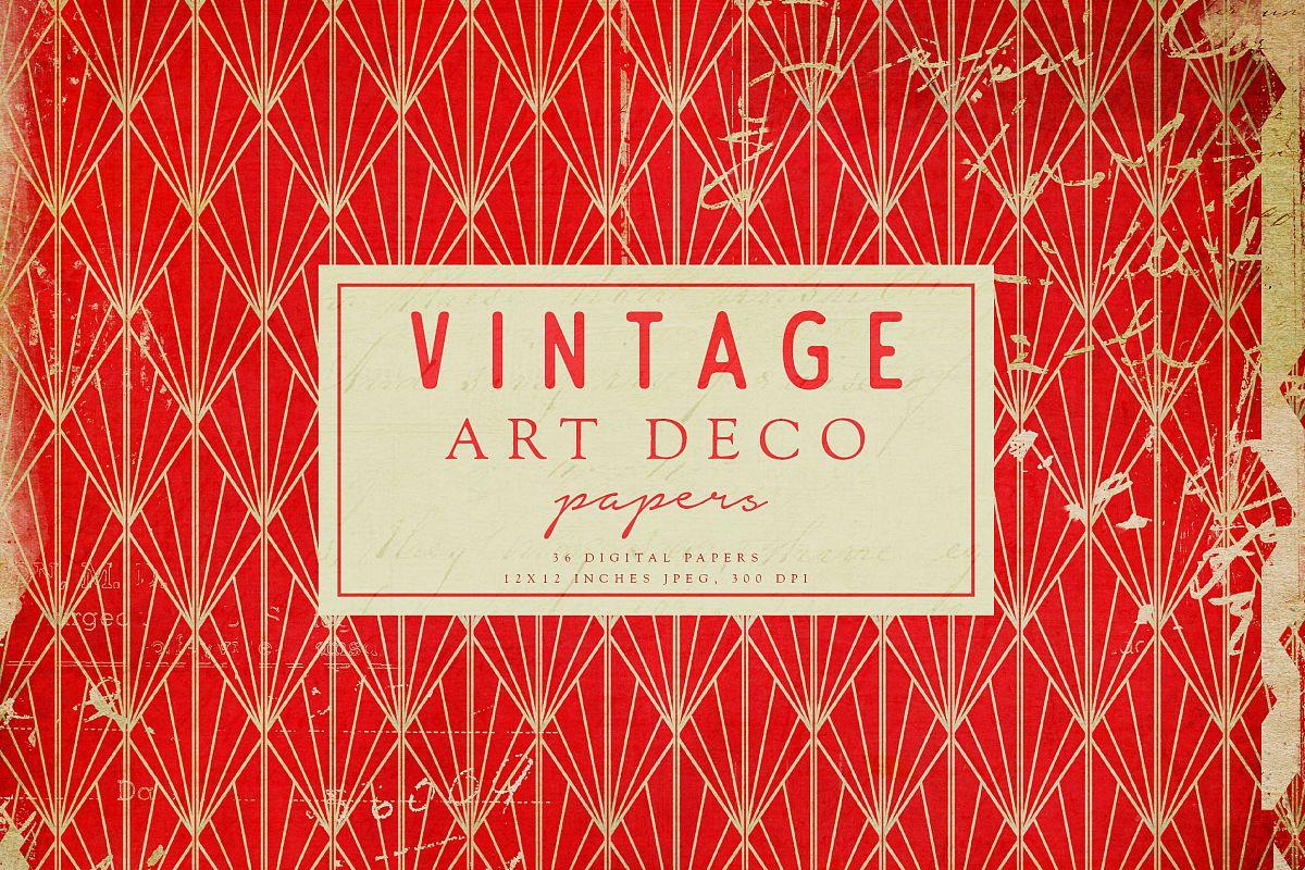 Vintage Art Deco Digital Papers example image 1