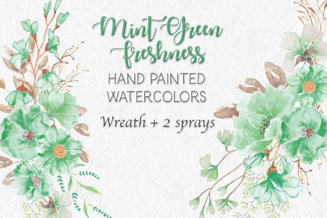 Watercolor wreath: 'Mint green freshness' example image 1