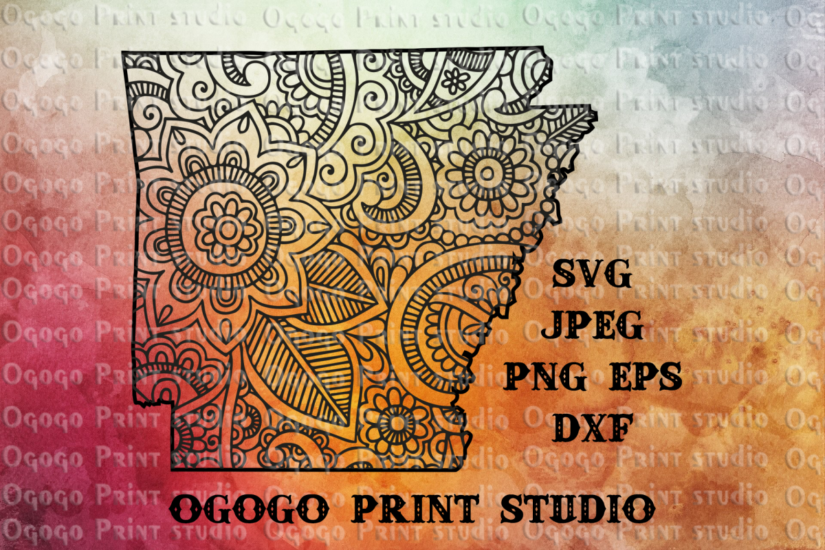 Arkansas Map SVG, Zentangle SVG, Mandala svg example image 1