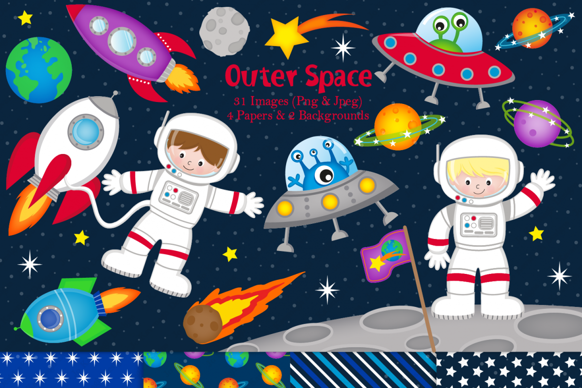 Space Clipart, Space Graphics & Illustrations, Astronauts