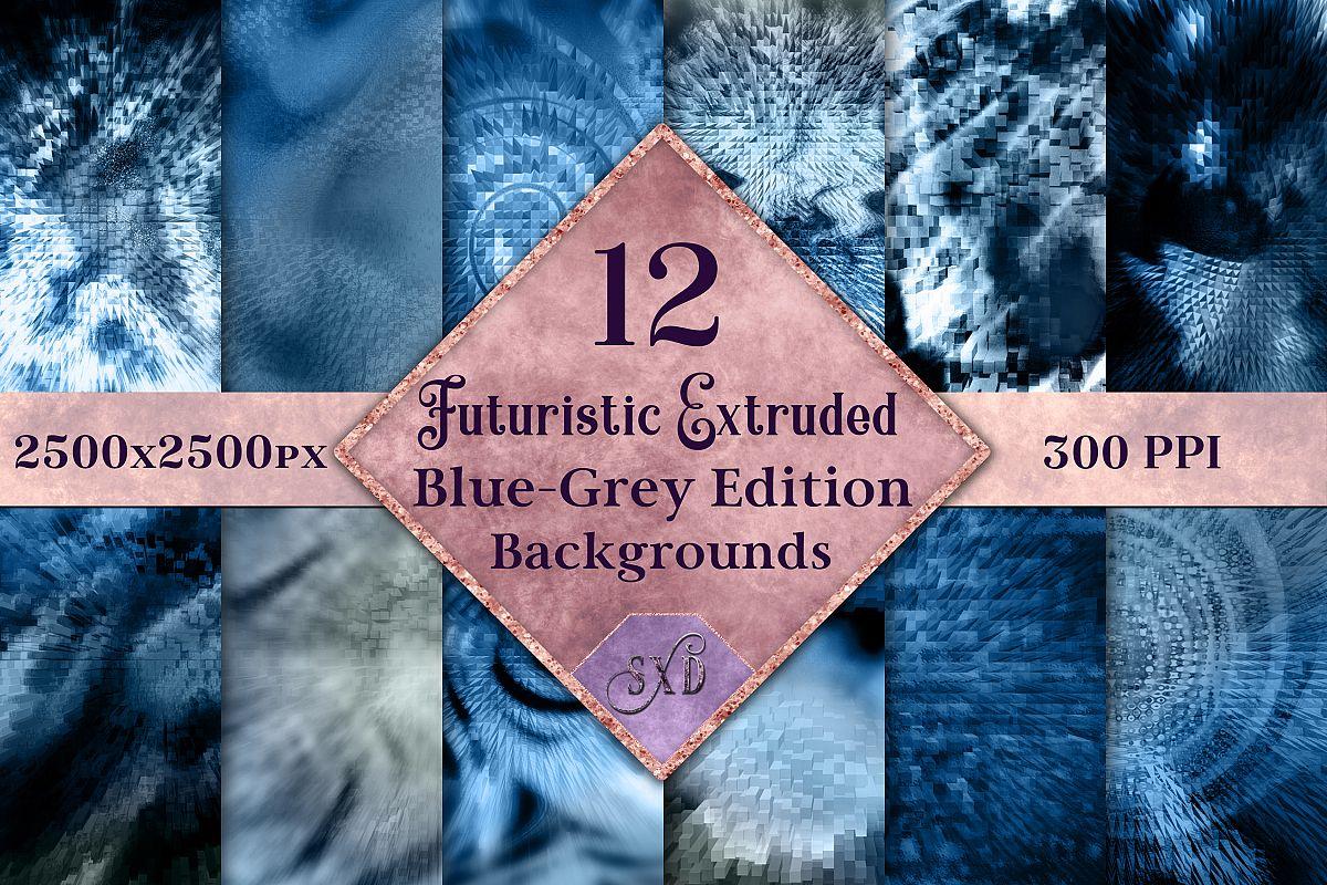 Futuristic Extruded Backgrounds Blue-Grey - 12 Image Set example image 1