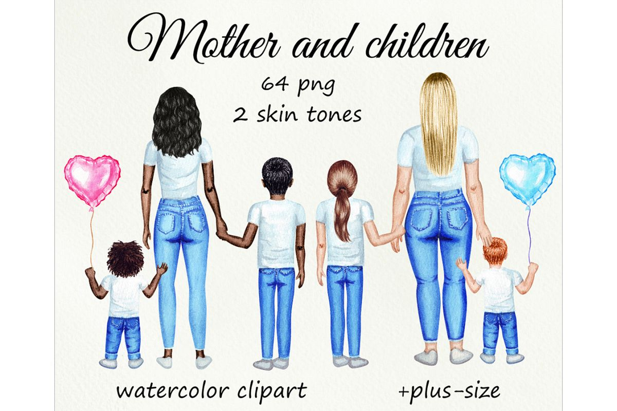 Motrher's day watercolor customizible clipart. example image 1