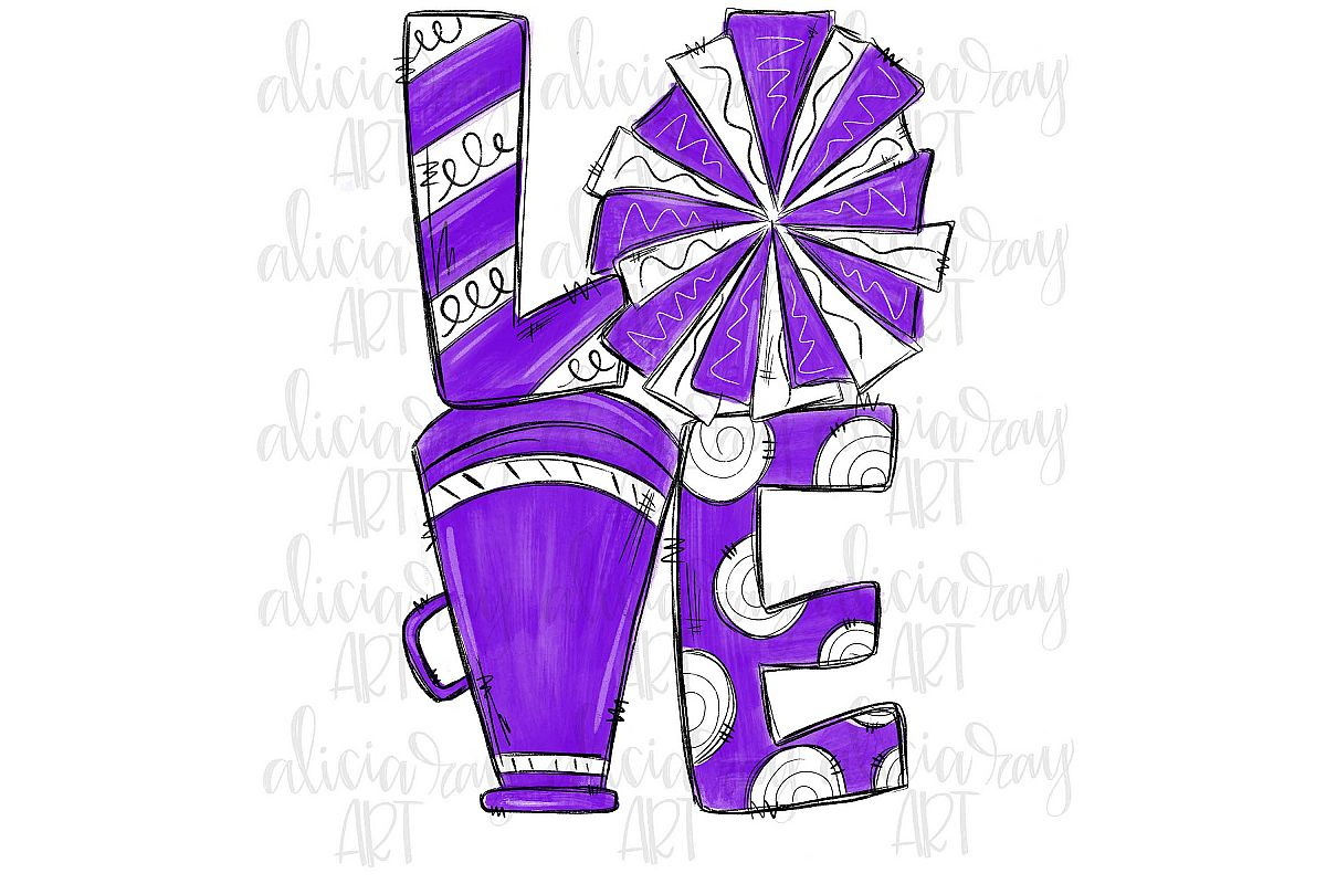 Cheer Love Purple and White example image 1