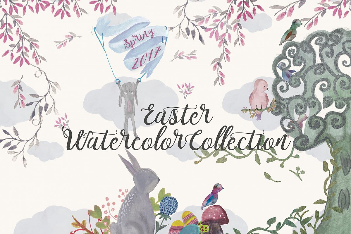 Easter watercolor Collection example image 1