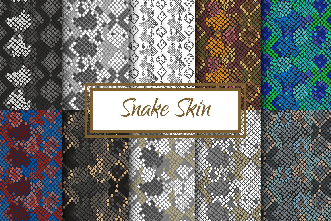 Snake Skin seamless pattern set example image 1