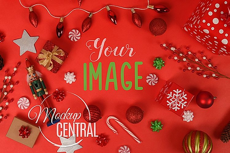 Red Christmas Background.Red Christmas Background Tabletop Mock Up Jpg Mockup