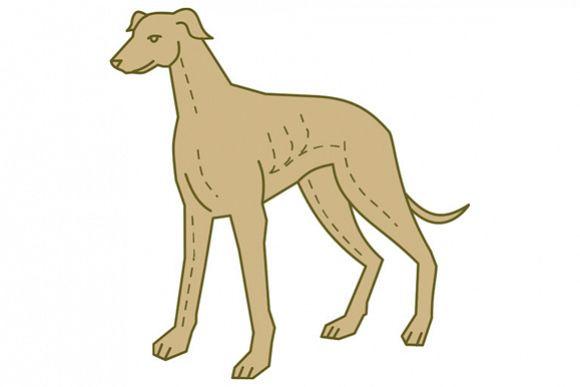 Greyhound Dog Standing Mono Line example image 1