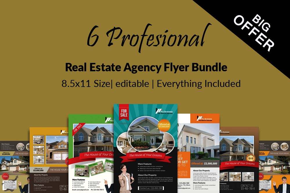 6 Real Estate Business Flyers Bundle example image 1