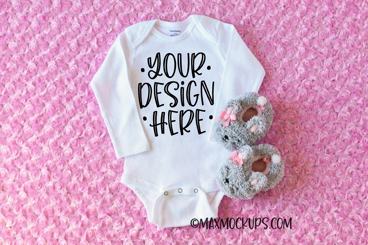 White baby bodysuit mockup, long sleeve, pink fur, slippers example image 1