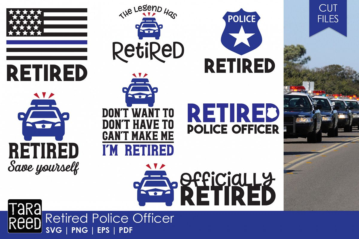Retired Police Officer SVG and Cut Files for Crafters example image 1