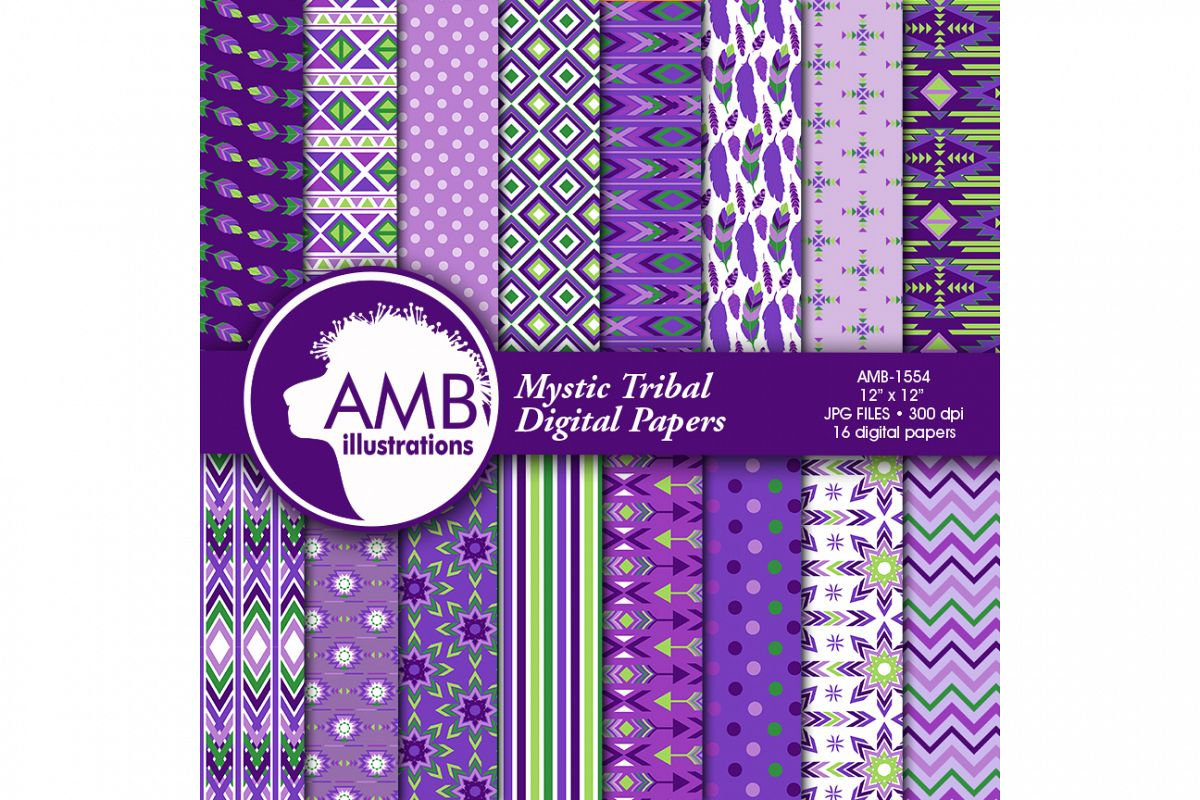 Arrows Tribal, Feathers Digital Papers, Tribal purpe Printable Papers, Arrows Triangles, Chevron, instant download, AMB-1554 example image 1