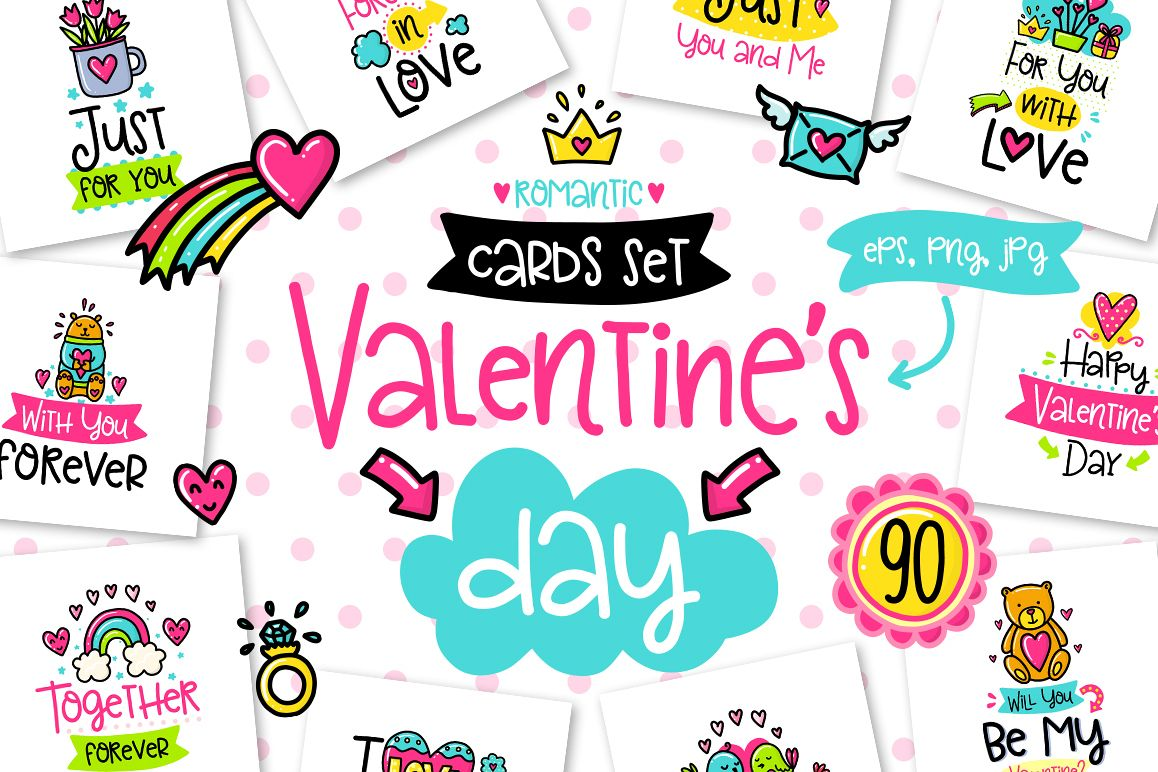 90 Valentine's Day Cards - Love Set example image 1