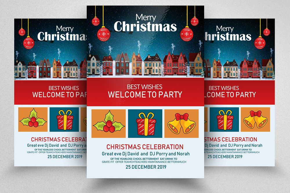 Merry Christmas Party Flyer Template example image 1