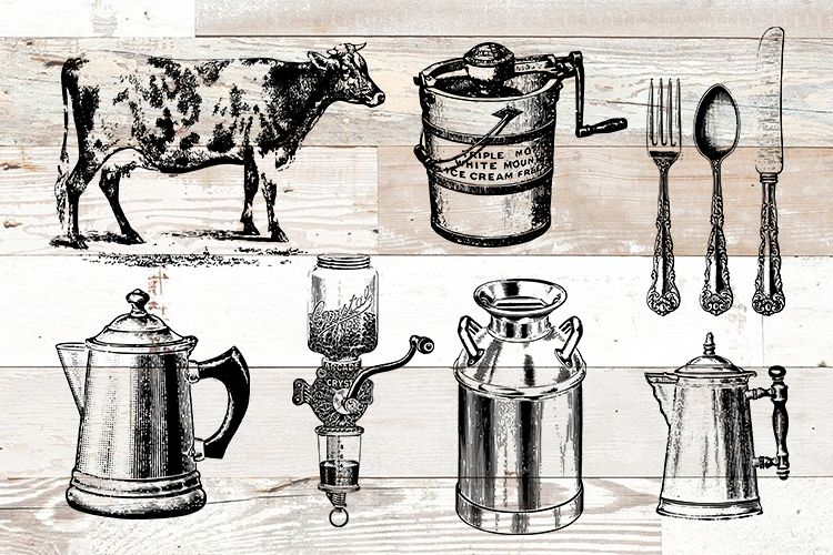 Farmhouse Farm Kitchen Vintage Bundle PNG, EPS, SVG Vector example image 1