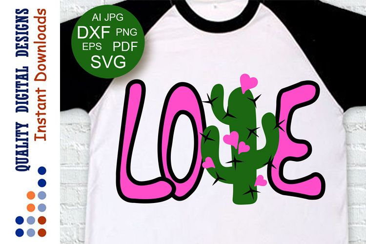 Love svg Valentine day decor Cactus clipart example image 1