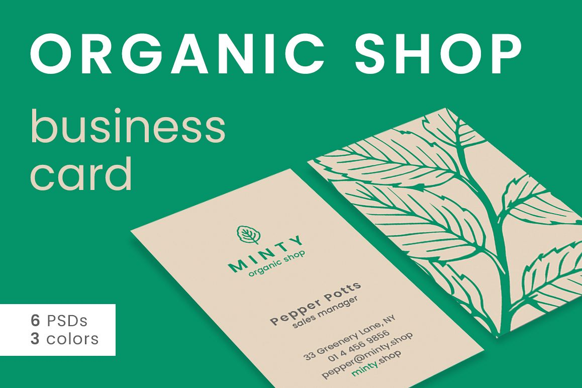 Organic Shop Business Card example image 1
