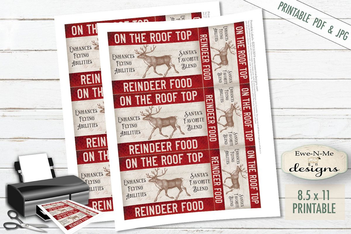 graphic relating to Printable Reindeer Food Tags titled Printable Xmas Tags - Reindeer Foodstuff - Rooftop - PDF JPG
