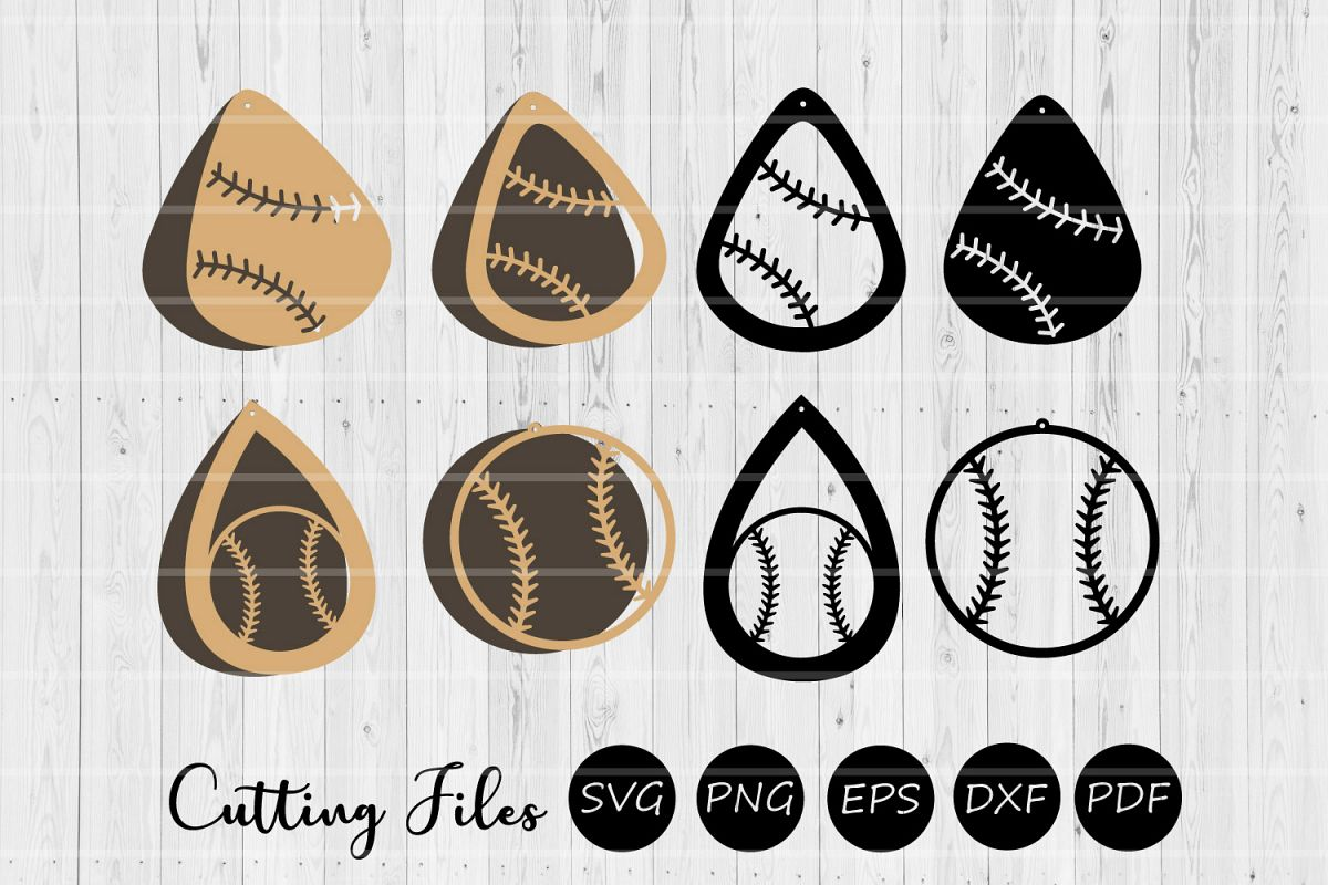 Baseball Earrings | SVG Cut Files | Stacked Earrings | example image 1