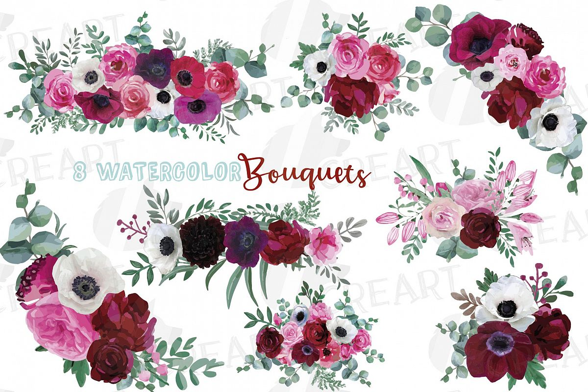 Watercolor elegant floral bouquets 2, rose, anemone decor example image 1