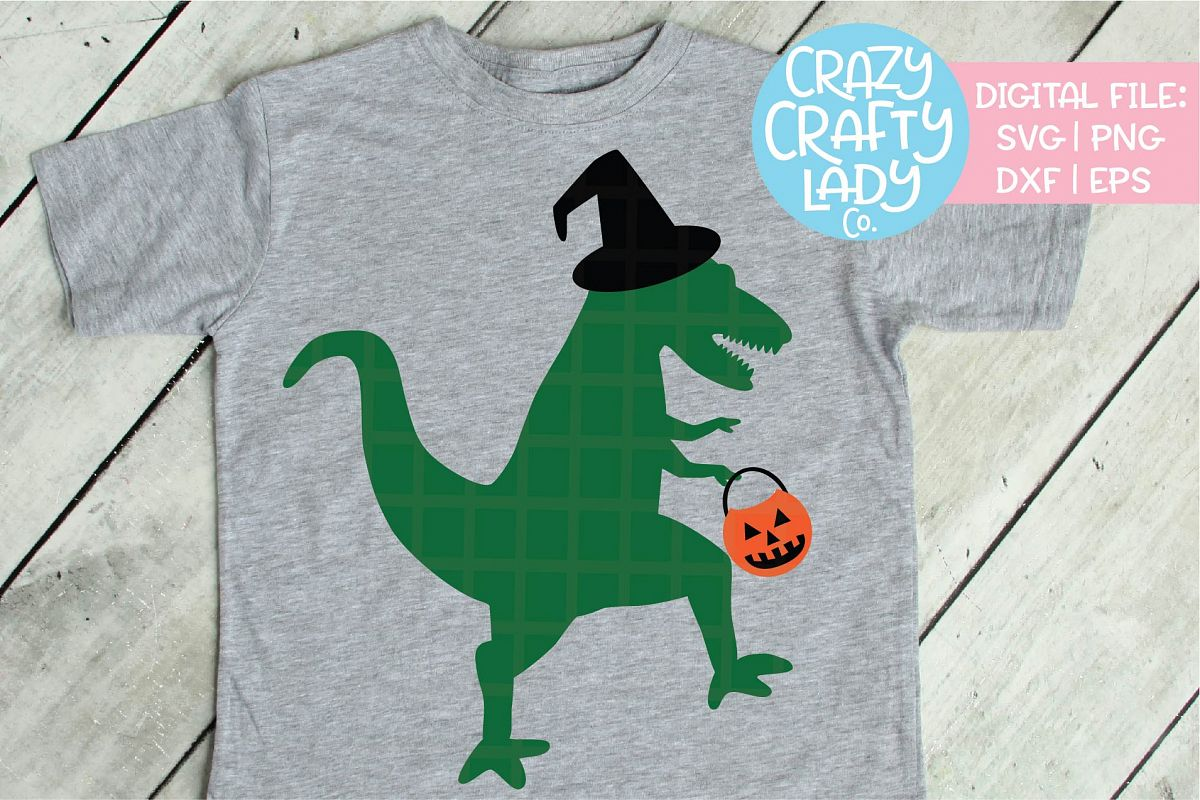 Halloween Dinosaur SVG DXF EPS PNG Cut File example image 1