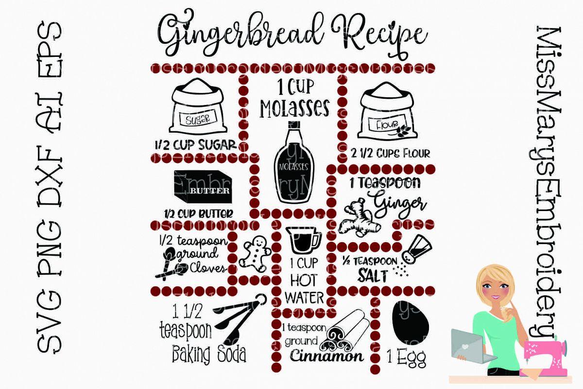 Gingerbread Recipe SVG Cut File example image 1