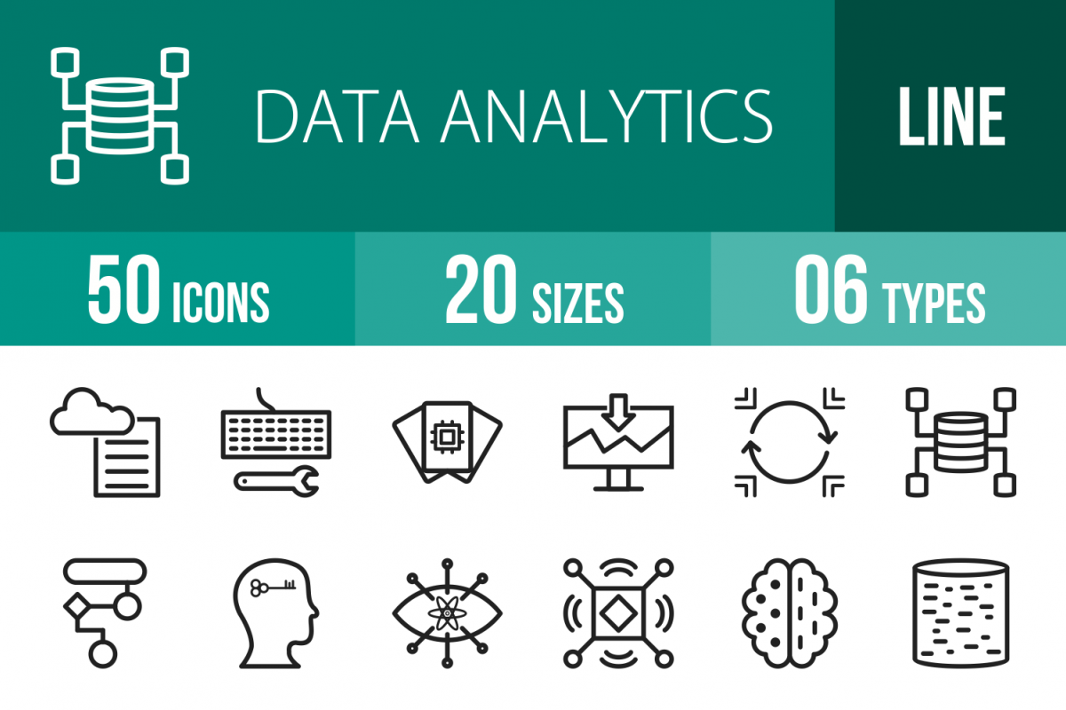50 Data Analytics Line Icons example image 1