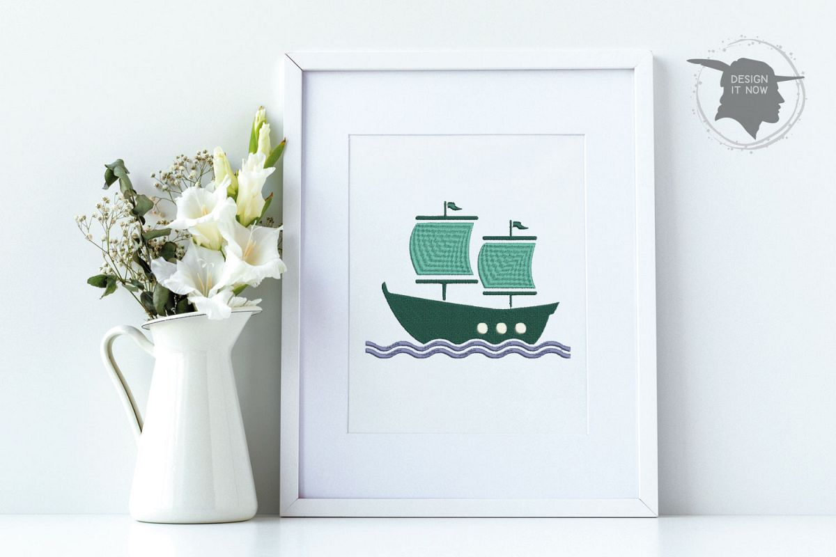 Boat Embroidery Design, Sailing Ship Embroidery Pattern, Sea example image 1