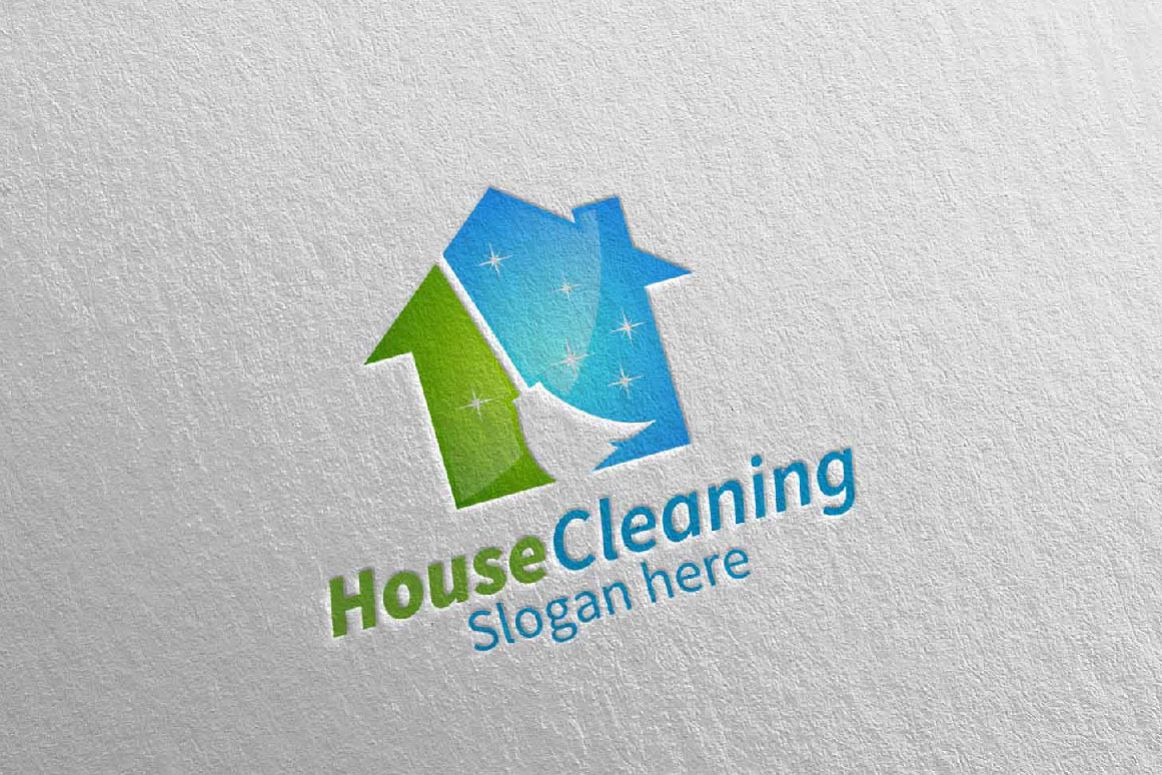 Building Cleaning Service Logo : House cleaning service logo design by d bundles