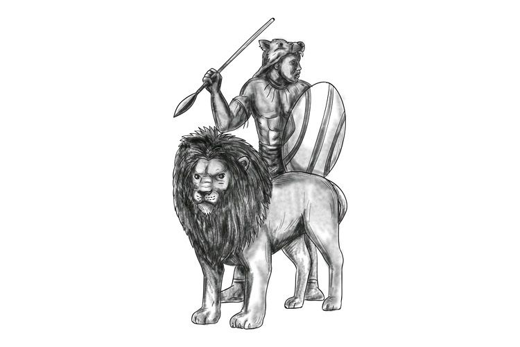 African Warrior Spear Lion Tattoo example image 1