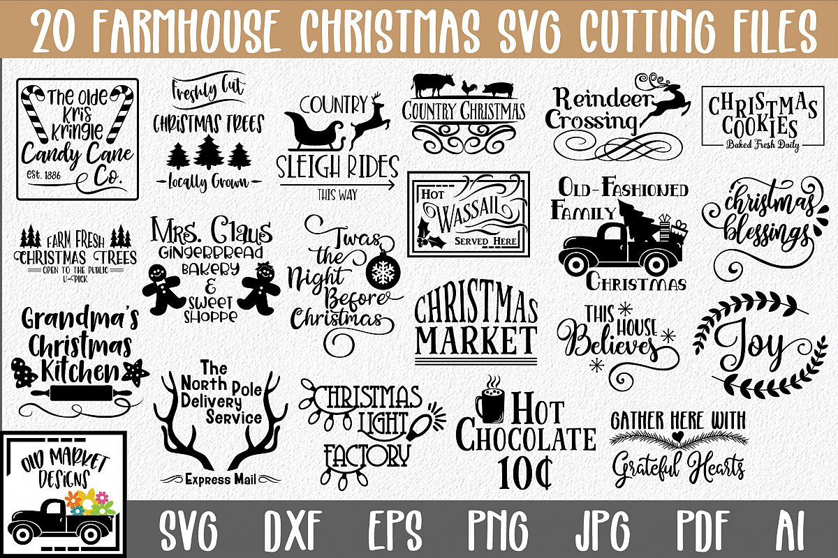 Farmhouse Christmas SVG Bundle with 20 SVG Cut Files DXF EPS example image 1