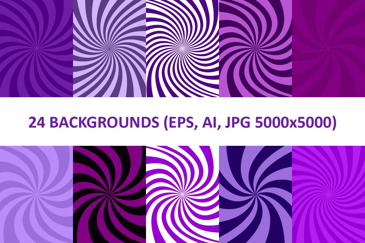 24 Purple Spiral Backgrounds AI, EPS, JPG 5000x5000 example image 1