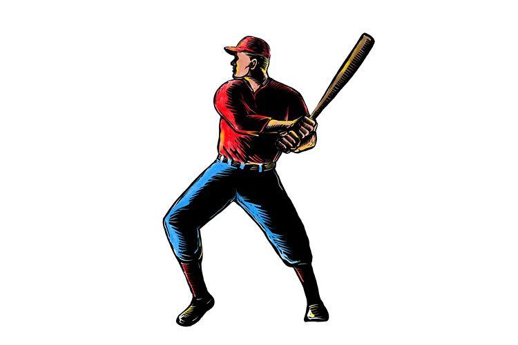 American Baseball Player Batting Scratchboard example image 1