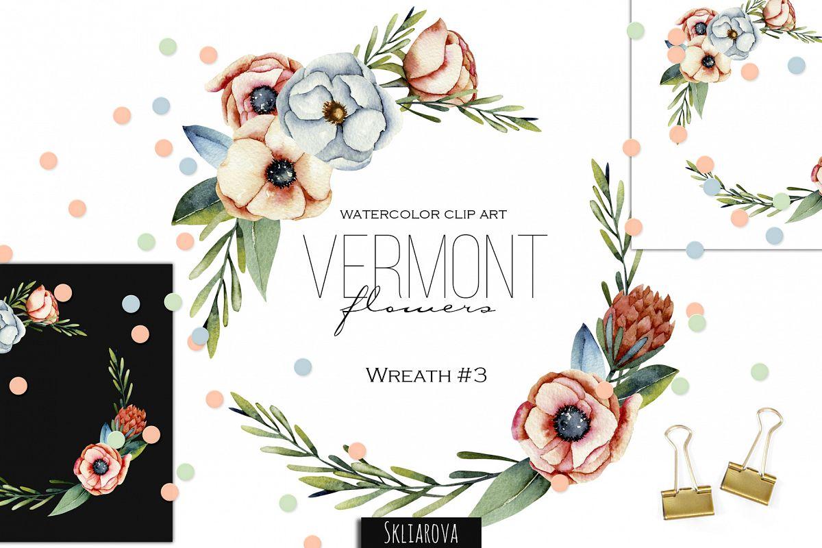 Vermont flowers. Wreath#3 example image 1