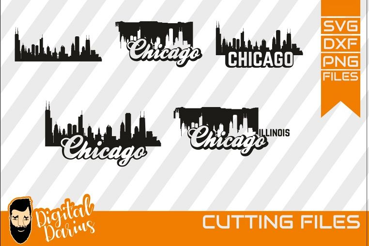 5x Chicago bundle svg, Printable Skyline, city skyline, city example image 1