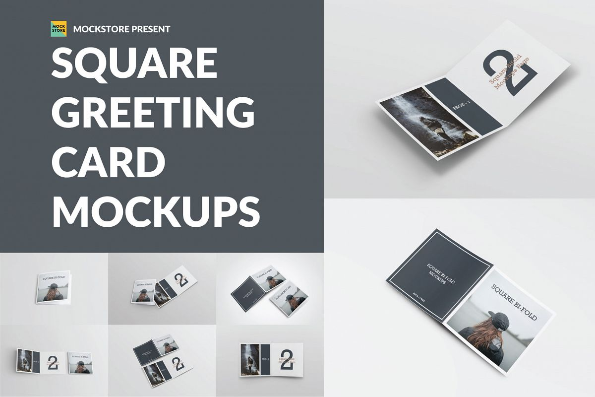 Square Greeting Card Mock-Ups example image 1