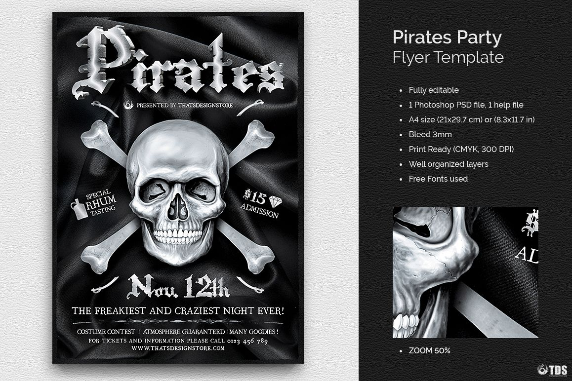 Pirates Party Flyer Template Example Image 1