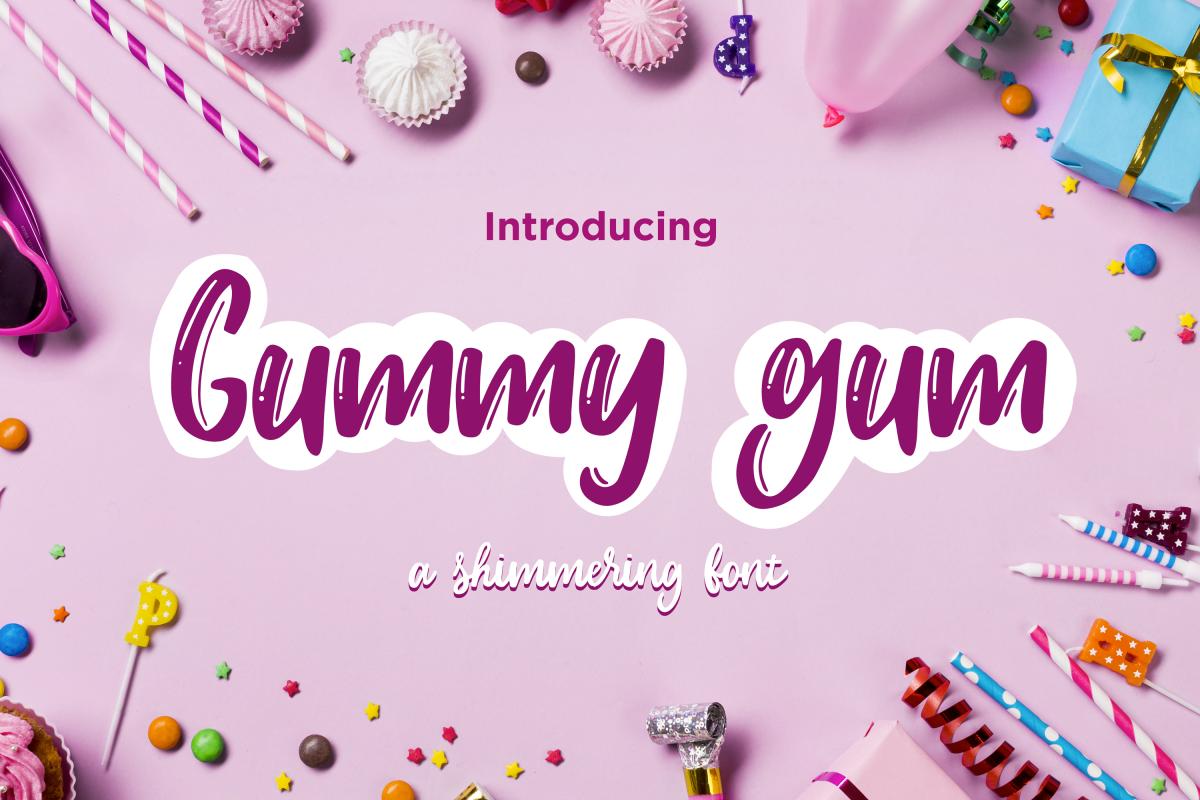 Gummy gum - script and cartoon font example image 1
