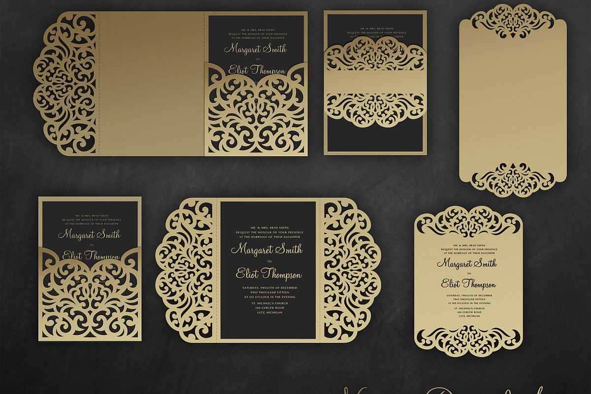 Laser Cut Wedding Invitation Set 5x7 Cricut Template Gate Fold Tri Fold Pocket Envelope Bellyband Menu Svg Dxf Cricut Silhouette Cameo