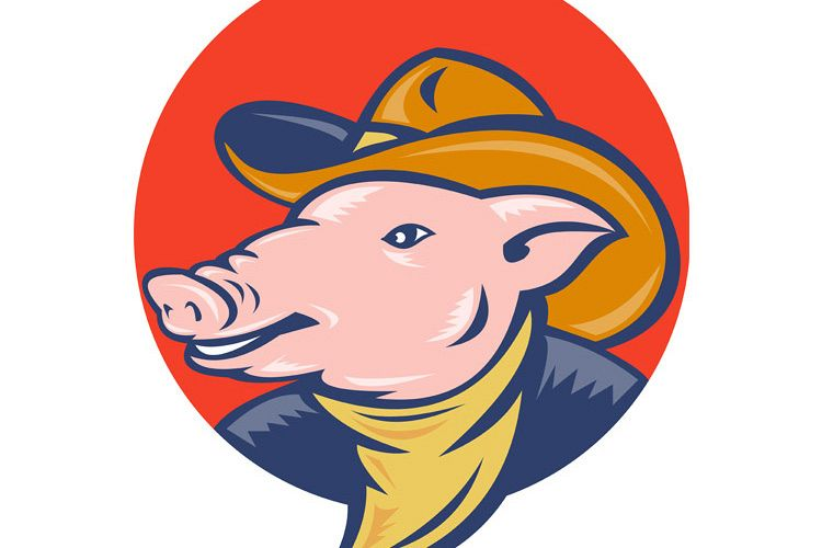 pig with cowboy hat and bandana example image 1