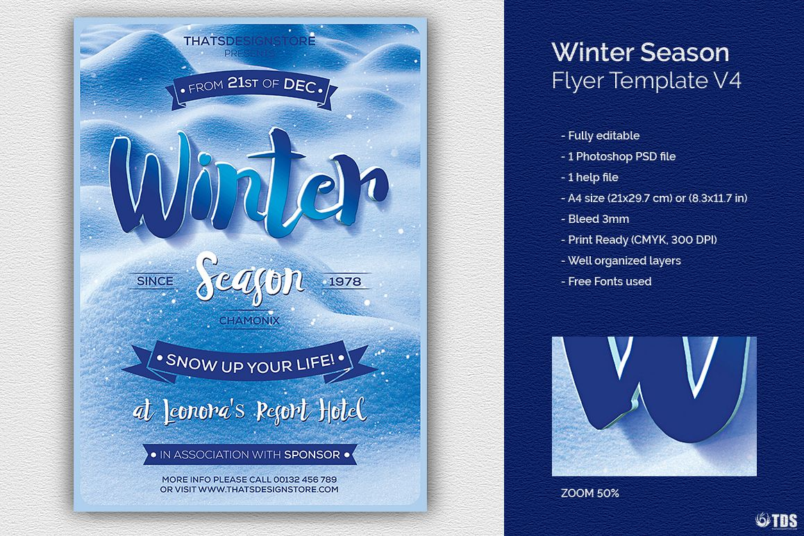 Winter Season Flyer Template V4 example image 1