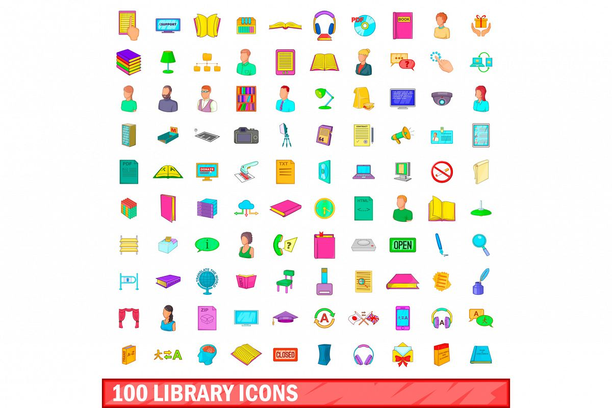 100 library icons set, cartoon style example image 1