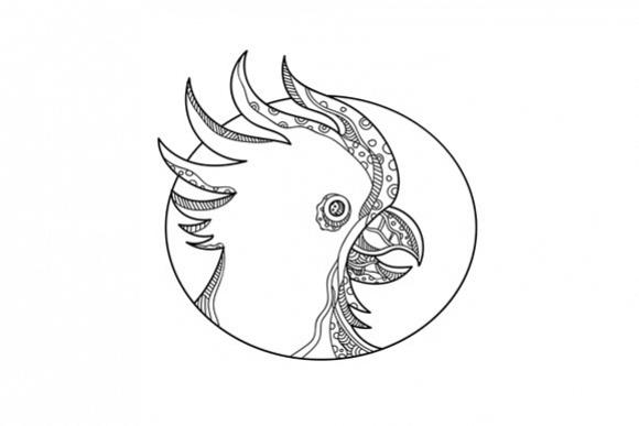 Cockatoo Head Circle Doodle Art example image 1
