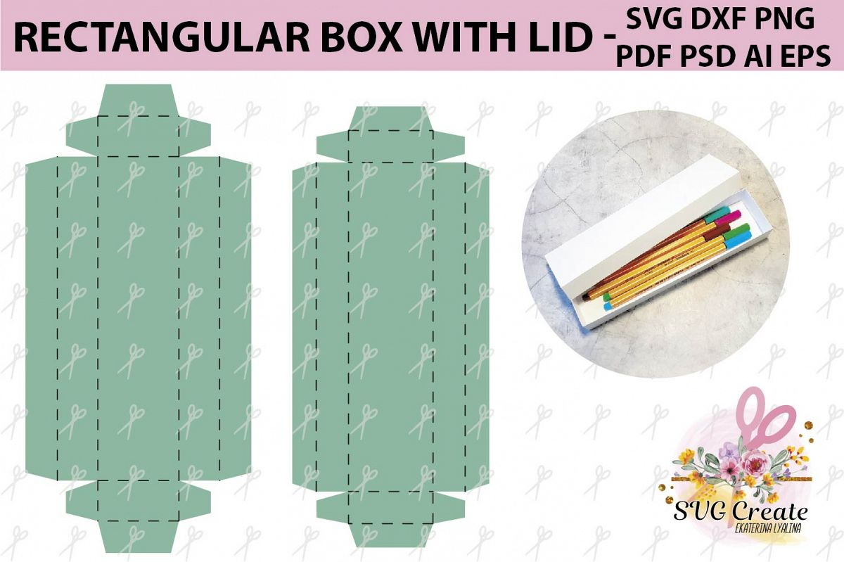 Box with lid template, box svg, pdf, favor box, box cut file example image 1