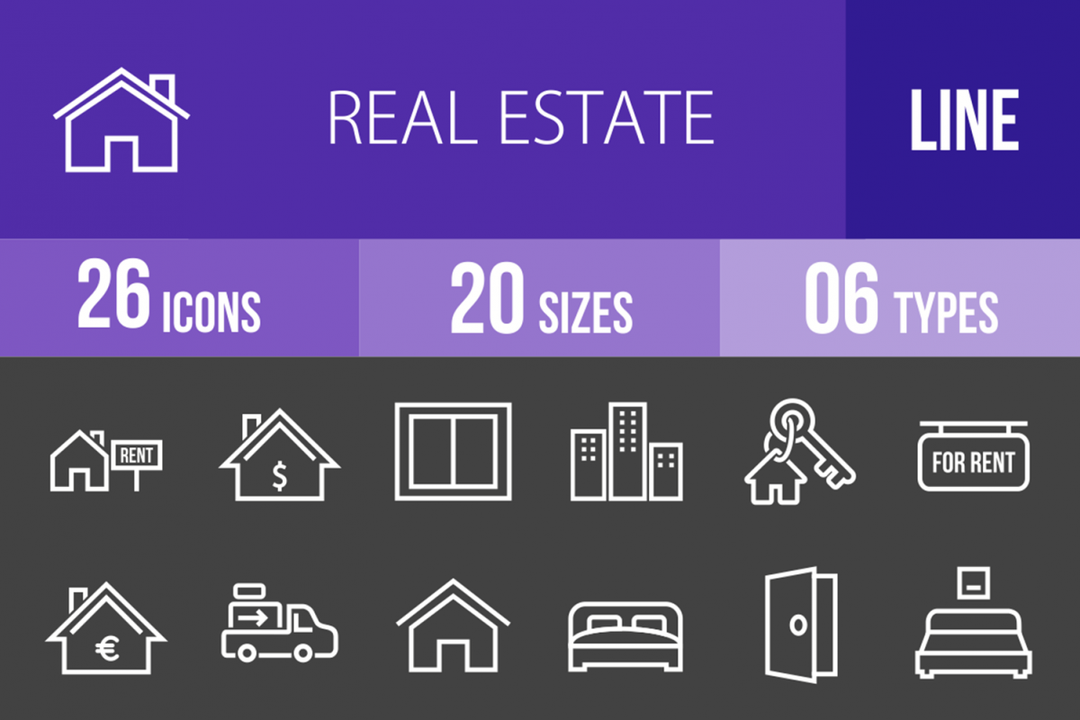 26 Real Estate Line Inverted Icons example image 1